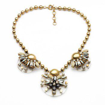 Fashion Geometric Faux Gem Embellished Floral Pendants Beads Necklace For Women
