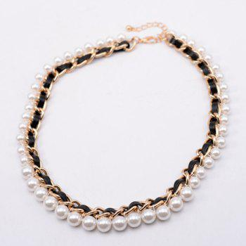Delicate Faux Pearl Embellished Knitted Necklace For Women