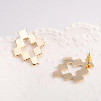 Pair of Fashion Hollow Cross Stud Earrings For Women - GOLDEN