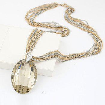 Link Layered Ellipse Crystal Necklace For Women