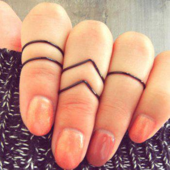 5PCS Chic Simple Design V-Shaped and Polishing Rings For Women
