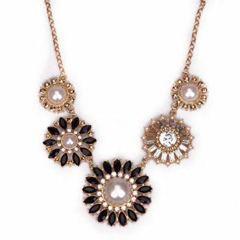 Faux Pearl Rhinestone Round Flower Necklace
