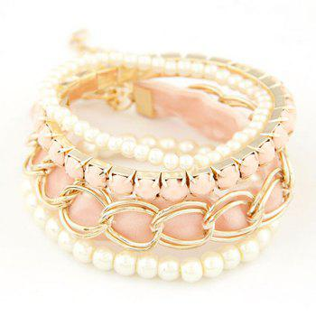 4PCS Fashion Faux Pearl and Gem Decorated Candy Color Bracelets For Women