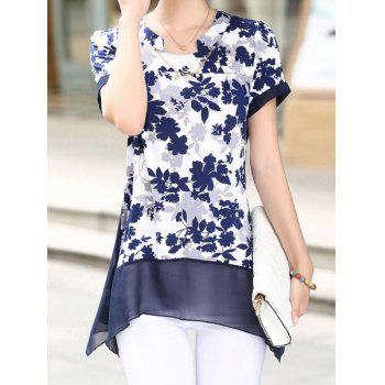 Plus Size Irregular Hem Print Design Short Sleeve Notched Roll Collar Blouse