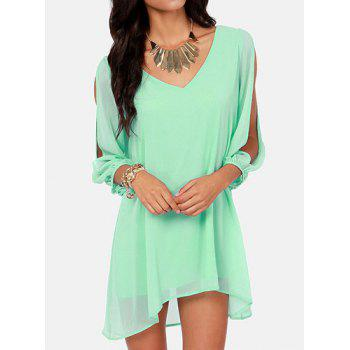 Sexy V-Neck Solid Color Long Sleeve Chiffon Dress For Women