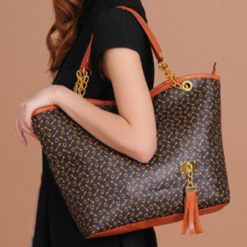 Trendy Tassels and Chain Design Tote Bag For Women -  BROWN
