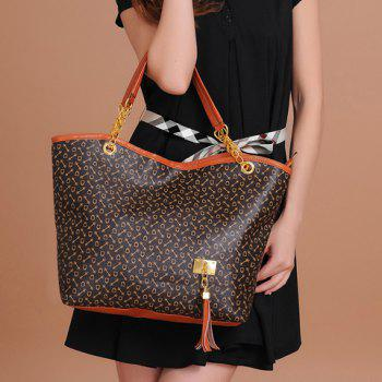 Trendy Tassels and Chain Design Tote Bag For Women - BROWN BROWN