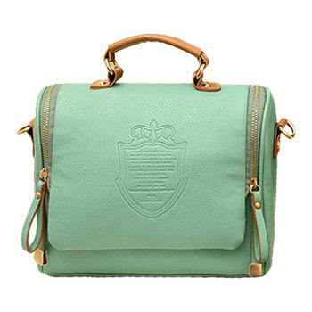 Retro Crown and Zip Design Tote Bag For Women - LIGHT GREEN LIGHT GREEN