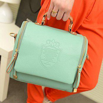Retro Crown and Zip Design Tote Bag For Women -  LIGHT GREEN