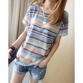 Colorful Stripe Sweet Scoop Neck Short Sleeve Women's T-Shirt
