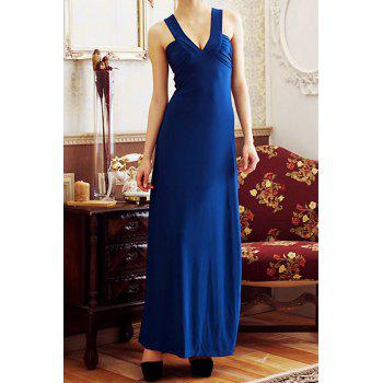 Sexy Plunging Neck Sleeveless Solid Color Backless Chiffon Women's Dress