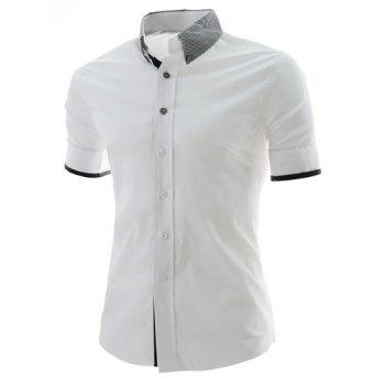 Casual Style Color Block Print Turn-down Collar Slimming Short Sleeves Men's Polyester Shirt - WHITE WHITE