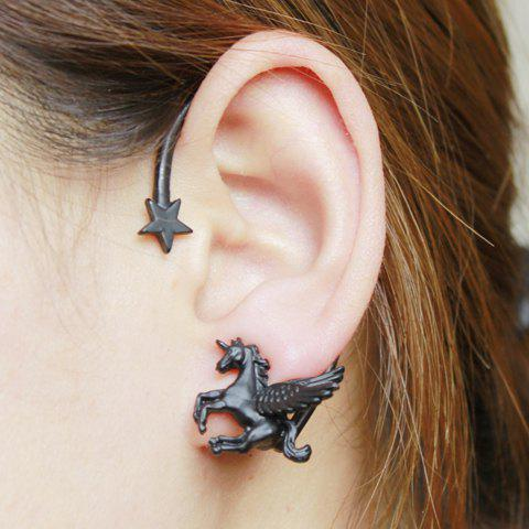 Star Flying Horse Pattern Ear Cuff - BLACK