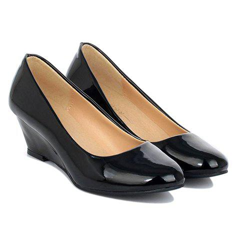 office patent leather and toe design wedge shoes for