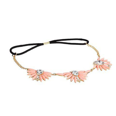Cute Diamante Colorful Floral Pendant Hairband For Women - SHALLOW PINK