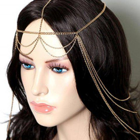 Exaggerated Solid Color Multi-Layered Tassels Hairband For Women