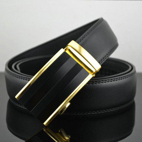 Stylish Chic Pure Color Gold Hem Rectangle Buckle Waist Belt For Men