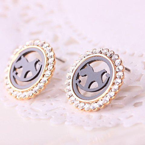Pair of Stylish Openwork Hobbyhorse Pattern Diamante Round Stud Earrings For Women - AS THE PICTURE