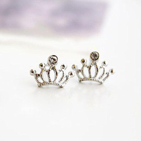 Pair Of Stylish Diamante Crown Shaped Stud Earrings For Women