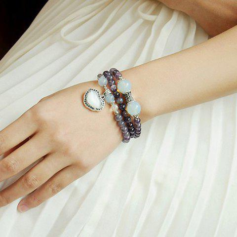 Fashion Heart Shape Pendant Multi-Layered Beads Bracelet For Women - AS THE PICTURE