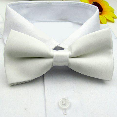 Hot Sale Pure Color Bow Tie For Men - WHITE