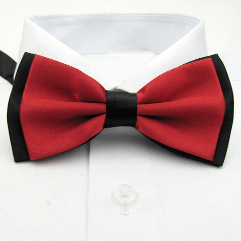 Black Hem Design Pure Color Bow Tie For Men - RED