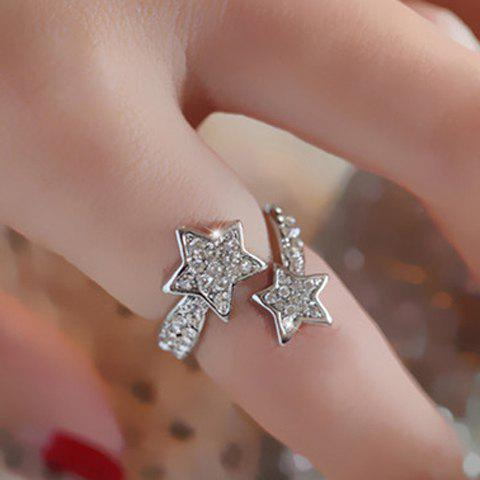 Star Pattern Diamante Cuff Ring - SILVER ONE-SIZE