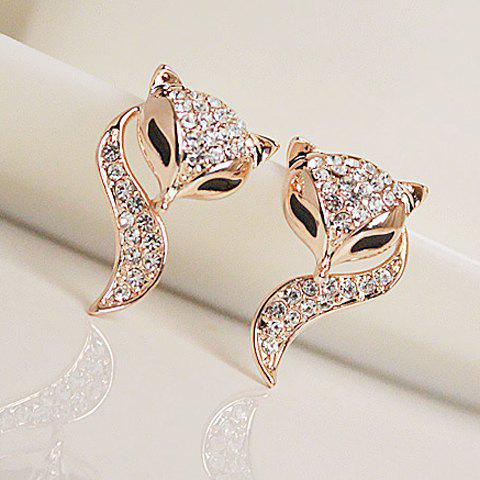 Pair of Fashion Diamante Fox Pattern Stud Earrings For Women