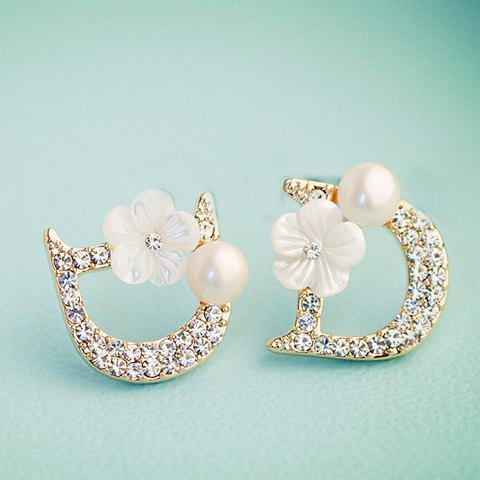 Pair of Fashion Flower Decorated Diamante Openwork D-Shaped Stud Earrings For Women - GOLDEN