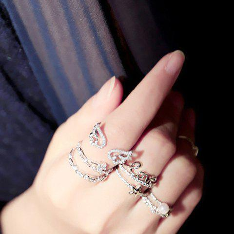 Sweet Rhinestone Embellished Various Pattern Ring For Women   (ONE PIECE) - RANDOM COLOR PATTERN ONE-SIZE