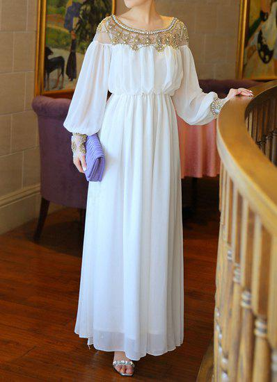Stunning Scoop Neck Beaded Solid Color Long Sleeve Women's Maxi Dress - S WHITE