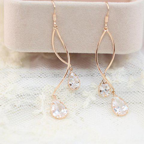 Pair of Exquisite Waterdrop Faux Crystal Pendant S-Shaped Earrings For Women - ROSE GOLD
