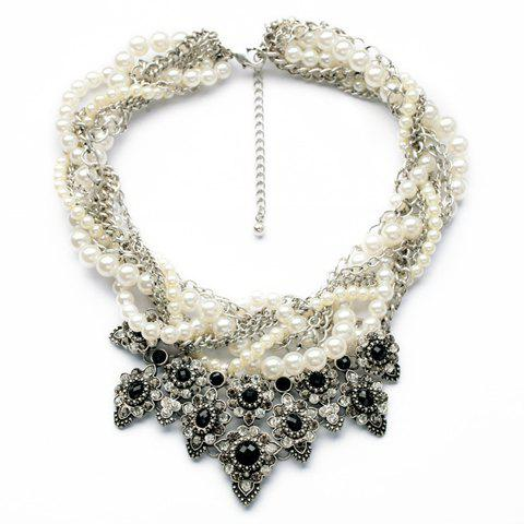 Retro Faux Gem Decorated Floral Pendant Faux Pearl Embellished Voluble Necklace For Women