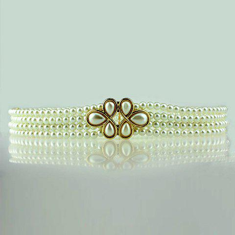 Vintage Floral Buckle Faux Pearl Waist Chain For Women