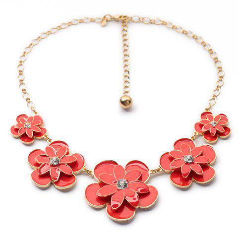 Unique Candy Color Double-Layer Flowers Pendant Necklace For Women - RED