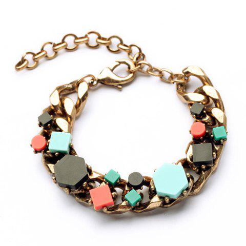 Fashion Candy Color Faux Gem Embellished Bracelet For Women - AS THE PICTURE