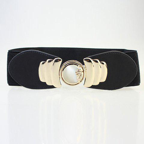 Retro Style Pure Color Opal Buckle Elastic Belt - BLACK