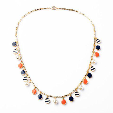Vintage Colorful Oval Pendants Necklace For Women - AS THE PICTURE