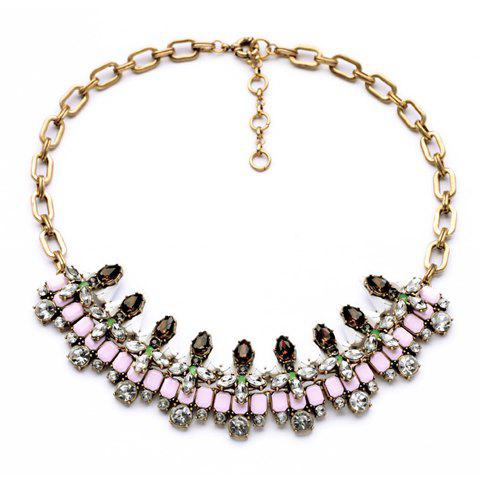 Faux Gem Decorated Arc Shaped Pendant Necklace - AS THE PICTURE