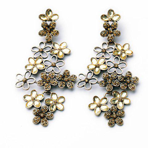 Pair of Exaggerated Faux Gem Embellished Openwork Multi-Layered Floral Earrings For Women