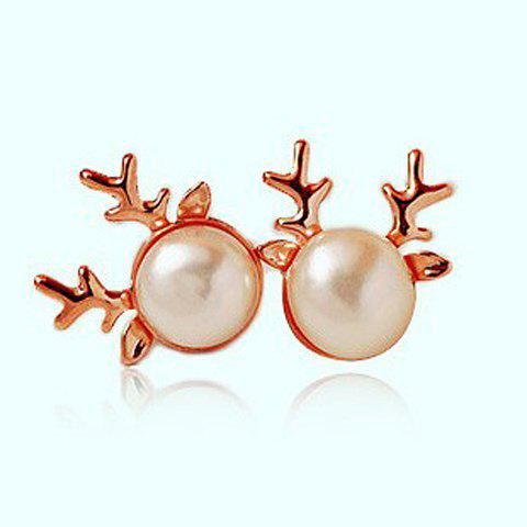 Pair of Stylish Faux Pearl Decorated Antler Shape Stud Earrings For Women - RANDOM COLOR PATTERN
