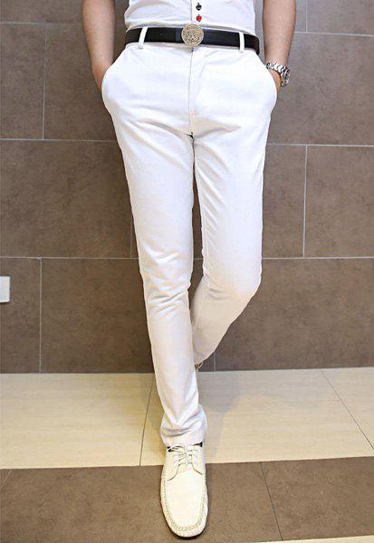 Casual Style Zipper Fly Solid Color Slimming Simple Design Narrow Feet Men's Cotton Pants - WHITE M
