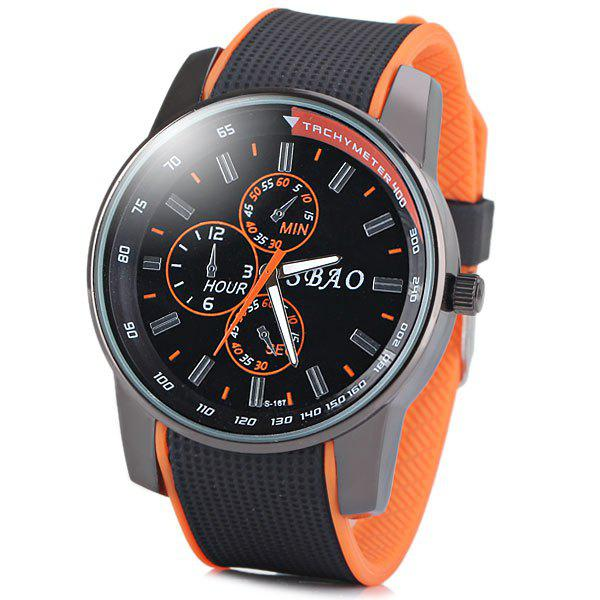 Fashionable Quartz Wrist Watch with Analog Display Rubber Watchband for Men -  ORANGE