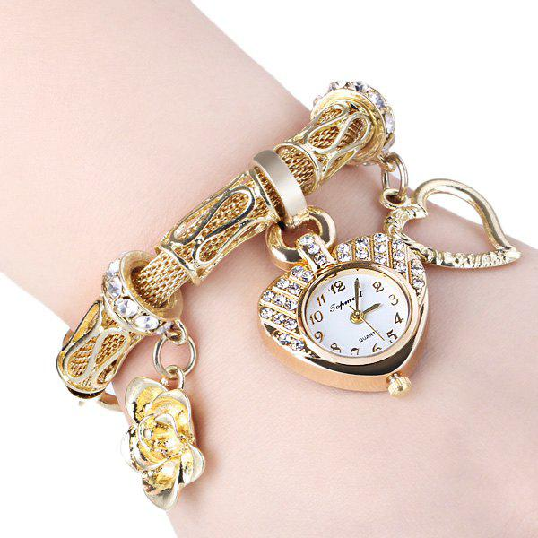 Image of 01457 Stylish Quartz Heart Dial Watch with Flower and Heart Alloy Chain Watch Band for Women