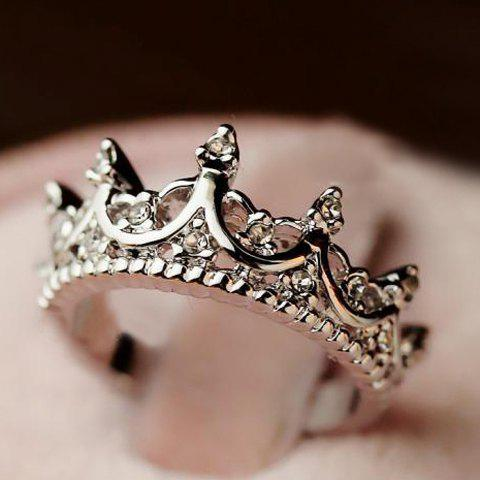 Fashion Diamante Crown Shaped Ring For Women - SILVER ONE-SIZE