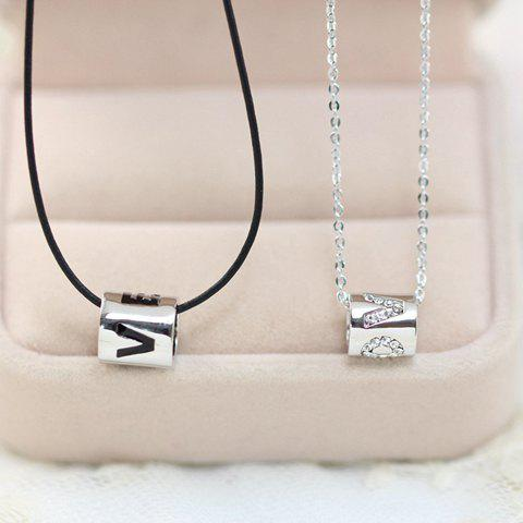 2PCS Chic Lettered Pendant Necklaces For Lovers - SILVER