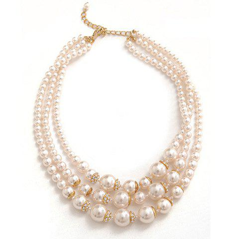 Stylish Multi-Layered Faux Pearl Necklace For Women - AS THE PICTURE