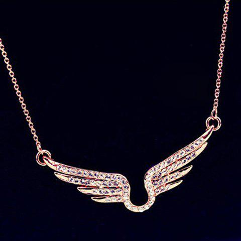 Stylish Diamante Angel's Wing Pattern Pendant Necklace For Women - ROSE GOLD