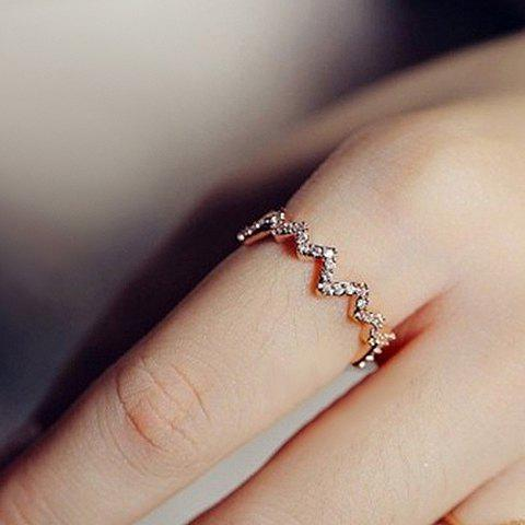 Sweet Rhinestone Decorated Wave Pattern Ring For Women - ROSE GOLD ONE-SIZE