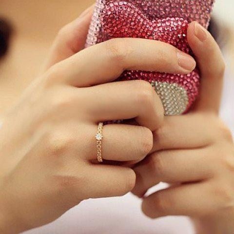 Sweet Rhinestone Decorated Flower Pattern Ring For Women - GOLDEN ONE-SIZE